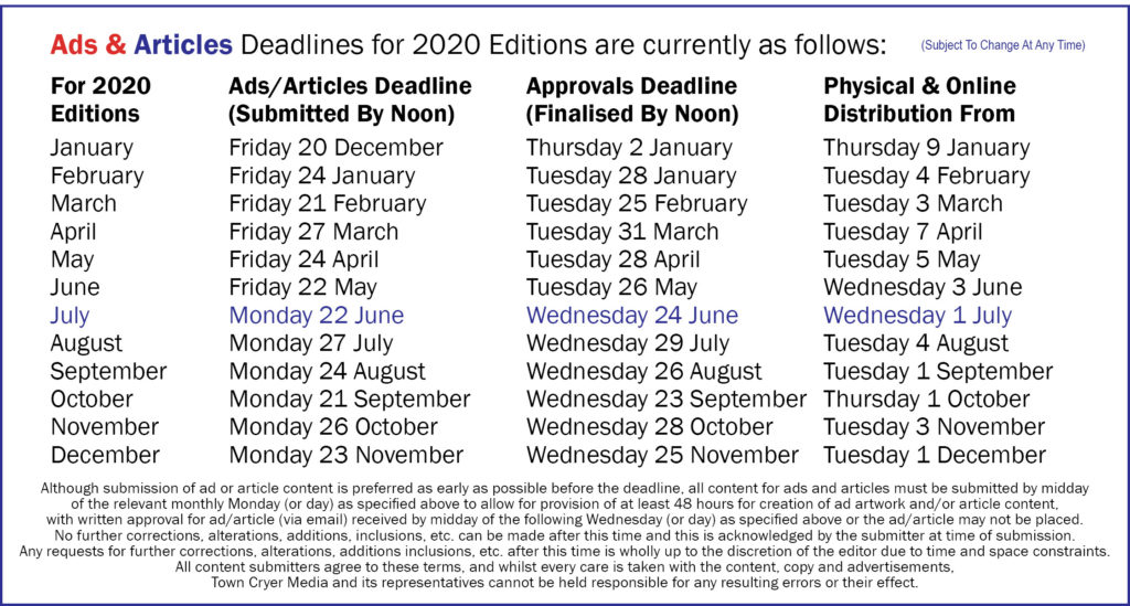 Deadlines 2020