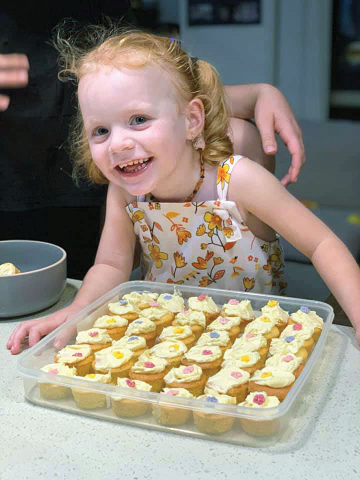 Liliana Making Cupcakes for Mother's Day