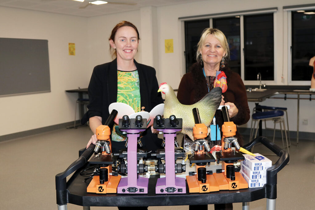 Teachers with the 'science experiment trolley'