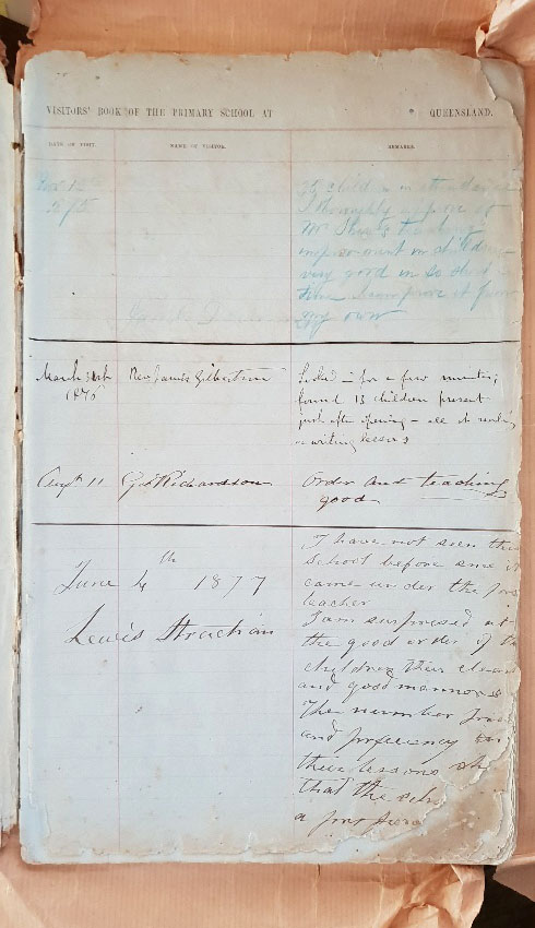 145 Year Old Logan Village State School Visitors' Book - Last Entries